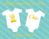 Number 1 and One Birthday Images Digital Download for iron-ons, heat transfer, Scrapbooking, Cards, Tags, Invitations, DIY, YOU PRINT
