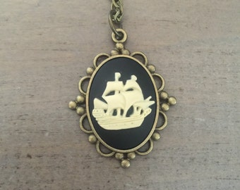 Pirate Ship Necklace, Cameo, Nautical Jewelry, Adventure Gift