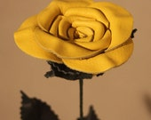 Yellow Leather Rose, Christmas Gift, Valentine's Day Gift, Leather Anniversary Gift, Birthday Gift, Mother's Day Gift, Wedding