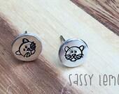 Cute Cat Earrings / Hand Stamp Surgical Steel Earrings /Silver Aluminum Earrings / Dainty Cat Studs