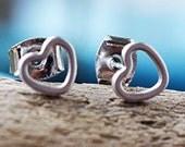 Dainty Heart Post Earrings / Silver Heart Earrings / Heart Studs / Perfect Valentine's Day Gift