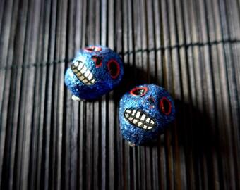 Dia de Los Muertos Calavera Clip Earrings Vintage Style Handmade