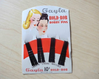 NOS New on Card 1950's Hair Clips Bobby Pins for Display or Vintage Pin-Up Hair Do !