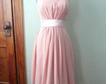 SALE Light Pink Party Dress, Vintage Bridesmaids Dress, Pale Pink Dress, Semi Formal, Blush Pink, Size 4 Wedding Dress, Mid Century Style
