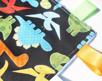 Baby Taggie Blanket in Dinosaur 100% cotton design with Blue Super Soft Minky - Baby Boy Gift Idea