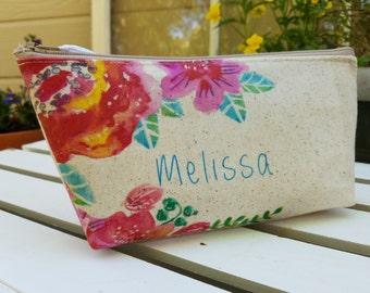 Sorority Gift, Floral clutch, Rose clutch, Greek, pink, Rush Week, fuscia, bridesmaid clutch, floral bridesmaid clutch, linen make up bag