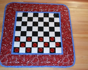 Quilted Checkerboard PIECES INCLUDED Handmade Bandanna Print Checker Board Wall Hanging Primitive Country Games Night Checkers Quilt