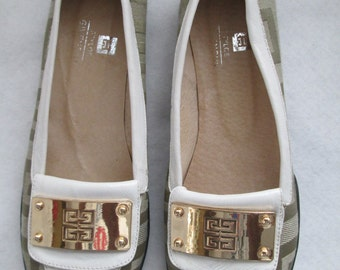 90s Ladies GIVENCHY Gold Buckle Leather/Fabric Flat SHOES