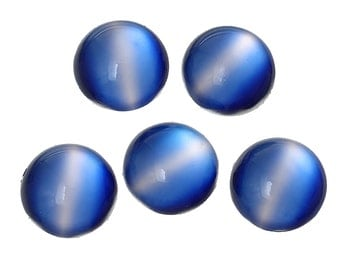 10 Blue Cabochons - 14mm - Cat's Eye - Flat Backs - Ships IMMEDIATELY from California - C295