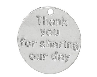 Thank You Charms - Antique Silver - Thank You For Sharing Our Day - 15x14mm -  5pcs - Ships IMMEDIATELY from California - SC1228