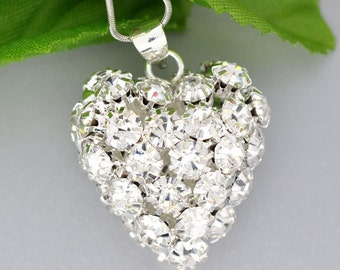 1 Rhinestone Heart Pendant - Silver - Heart - Valentine - 33x26mm - Ships IMMEDIATELY from California - SC1236
