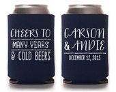 Custom Wedding Favor - Cheers to Many Year & Cold Beers Can Cooler
