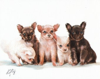 Original Oil Art CHIHUAHUA Portrait Painting Artist Signed Artwork Puppy Dog