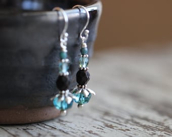 Boho Czech Glass Earrings, Teal Blue, Aqua Blue, Rustic, Sterling Silver, Dangle Earrings, Glass Earrings, Cottage Chic, Boho Chic, Rustic