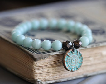 Amazonite Bracelet, Stretch Bracelet, Beaded Bracelet, Pale Blue, Copper Charm, Aqua Patina, Czech Glass, Bali Charm, Boho, Rustic