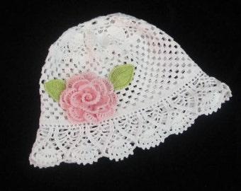 Crochet Panama Hat, Baby Panama Hat Crochet Baby Girls Sun Hat, Toddler Summer Girl Brim Hat White Panama Sun Hat Flower Baby Girl Sun Hat