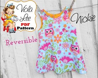Baby Dress Pattern, Reversible Aline Dress Pattern, Girl's Sewing Pattern, Jumper Pattern, Toddler Dress Pattern, pdf Sewing Pattern. Nickie