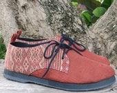 Vegan Mens Shoes Oxfords In Natural Hemp & Naga Tribal Embroidery