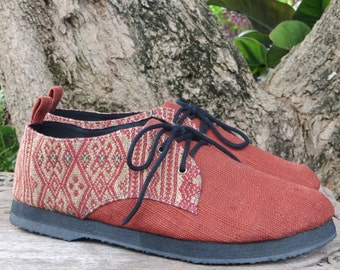 Vegan Mens Shoes Oxfords In Natural Hemp & Naga Tribal Embroidery- Alex