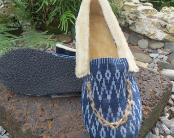 Vegan Men's Slippers With Soles In Hmong Indigo Batik, Tribal Mocassin Style Plush Lined House Shoes - Riley