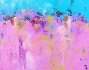 Abstract Landscape 'Pink Fluffy Unicorns' - acrylic painting on canvas - size 30cm x 30cm