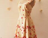 My Strawberry Dress Orchard Garden Dress Ruffle Strap Sweet Tea Dress Cute Dress Party Prom Wedding Dress Sundress Brown -Size XS-XL, Custom