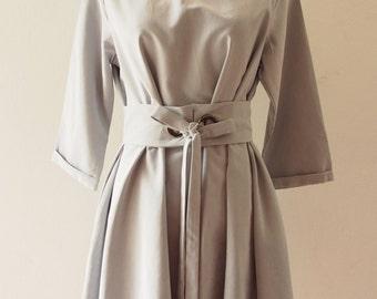 OOTD -Day & Working Dress, pale Blue Loose Dress Style or Maternity Dress, Tent Shape, Boho Mod Dress, Elbow Sleeve Dress- Size S