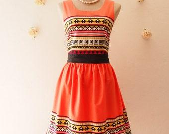 READY TO SHIP- Tangerine Summer Dress Chic Tribal Dress Lookbook Dress Orange Party Dress Modern Vintage Sundress Boho Dress -Size S