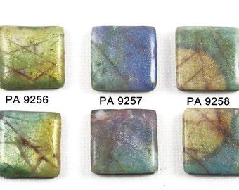 Handmade Polymer Clay 2 Matching 20mm Square Beads-Cabochons- Faux Labradorite-Gray, Green, Blue-PA 9256-PA 9257-PA 9258