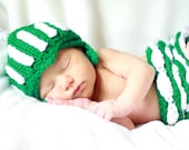 Made in Michigan State newborn baby girl spartan hat and ruffled diaper cover.  Photography prop baby shower gift.  Green and white.
