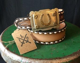 Vintage Tooled Leather Belt & Horseshoe Buckle by Tony Lama size 32 A344