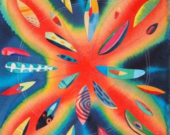 Bursting Star, original framed watercolor collage