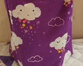 Clouds on purple Sock Sack - Ready to Ship