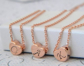 Rose Gold Heart Initial Necklace, Personalized Heart Necklace, Hand Stamped Mini Heart, Rose Gold Personalised Heart Necklace, Pink Heart