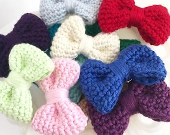 Crochet Hair Bow: Mulberry Light Purple - Crocheted Hair Clip - Crochet Bowtie - Infant Hair Bow- Photography Props