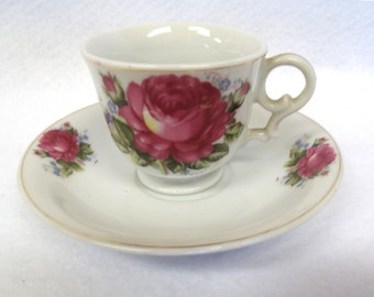 Japanese Demitasse Cup and Saucer, Large Red Rose, Gold Accents