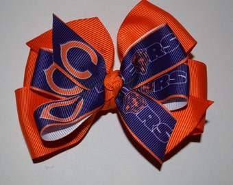 Chicago Bears Orange and Navy Hair Bow
