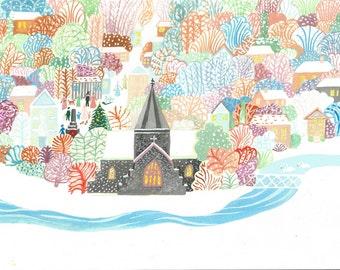 Winter in Alfriston 4 Postcards & Envelopes A6 size