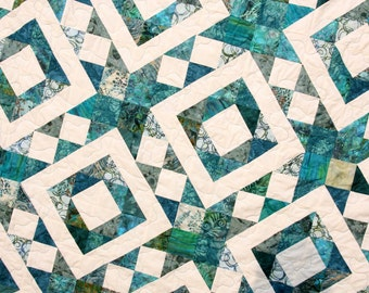 Batik Patchwork Quilt, Diamonds & Stars, Queen / King by PingWynny