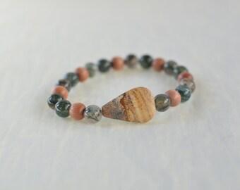 SALE + FREE SHIPPING   Strength in Stress Wrist Mala - Jasper, Moss Agate, Rosewood - Prayer Beads   Spiritual Yoga Jewelry   Meditation