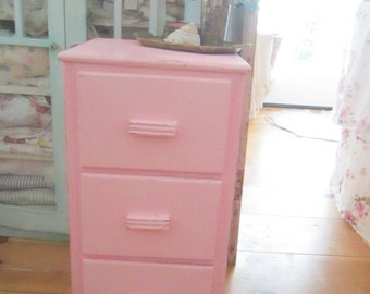 Vintage  cupboard with drawers  shabby chic pink cupboard shelf shabby chic cottage chic