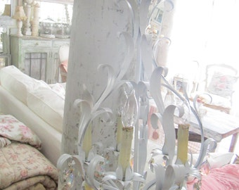 Chandelier  French white  vintage with crystals   shabby chic prairie cottage chic