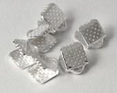 25 Pcs - Silver Ribbon Ends - 8mm long, 6mm wide