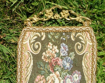 "Vintage Heavy Tapestry Wall Hanging Ornate Brass Hanger with Tasseled Bottom 68"" Long"