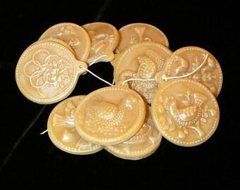 Handmade Artisinal Beeswax Ornament Set - TWELVE DAYS of CHRISTMAS