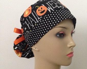 Women's Ponytail Surgical Scrub Cap - Happy Halloween Pumpkins