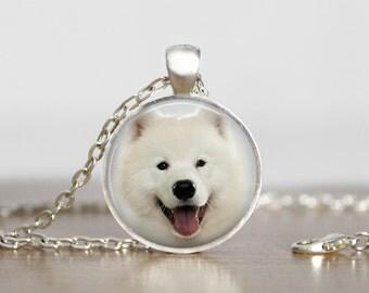 Samoyed Dog Pendant Necklace or Keychain