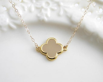 Simple Beige Flower Necklace. Small Daisy with Gold Colored Trim. Bridesmaid Gift. Gift for Her. Simple Modern Jewelry