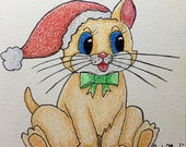 CHRISTMAS KITTY - Child, Toddler, Nursery, CHILDREN,  Original Fine Art Colored Pencil Painting,  5 x 5  inches, by ebsq Artist Ricky Martin