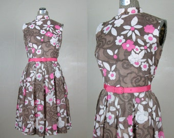 Vintage 1960s Dress 60s MOD Floral Dress in Brown Pink & White Print by Toni Todd Size 8M